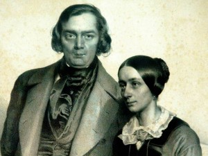 Robert and Clara Schumann, <br>and their teacher Johann Sebastian Bach