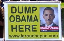 Fra LaRouche-bevægelsen 6. nov. 2014: <br>Obama går ned