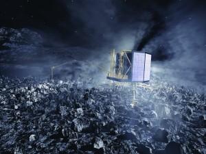 Rosettamissionens landingsmodul Philae lander på kometoverflade
