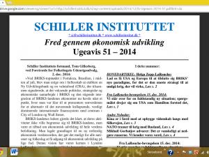 Schiller Instituttets Ugeavis 51 – 2014