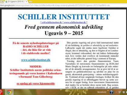Schiller Instituttets Ugeavis 9 &#8211; 2015: <br />Grækerne har allerede betalt gælden gennem årelang udplyndring, med folkemord til følge! <br />- En ny politik for hele Europa!