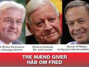Nyhedsorientering marts: <br>Tre mænd giver håb om fred