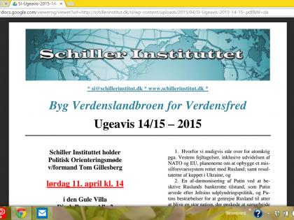 Schiller Instituttets Ugeavis 14/15: <br />Stor succes for vores debatmøde! <br />- Så gik Danmark med i AIIB! <br />- Irans Rouhani: Der er en tredje vej til enten kamp eller underkastelse: Samarbejde