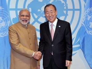 Modi forklarer Ban Ki-moon, at fattigdom, ikke CO2-udslip, er vigtigst