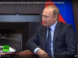 Præsident Putin langer hårdt ud efter Tyrkiet, USA og NATO <br>for at støtte ISIS ved at nedskyde det russiske fly