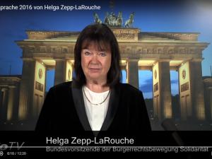 Helga Zepp-LaRouches Nytårstale 2016: <br>Denne krise er ingen naturbegivenhed, <br>men resultatet af en forkert politik