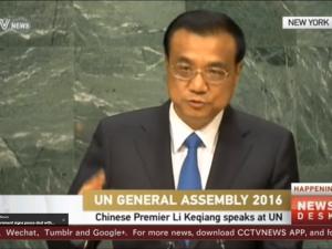 »Uden udvikling giver bæredygtighed ingen mening«, <br>siger Kinas Li Keqiang til FN's Generalforsamling