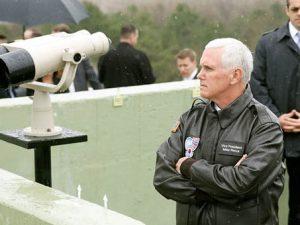 USA's vicepræsident Pence indtager krigerisk, <br>men »ikke-militært« standpunkt over Nordkorea