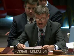 Petr Iliichev, chargé d'affaires ved Ruslands <br>permanente mission til FN, taler ved <br>Schiller Instituttets New York-konference, <br>13. april 2017