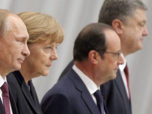 Lederne af Normandiet Fire-formatet <br>bekræfter våbenhvile; dernæst er <br>London vært for Ukraines Porosjenko <br>for at tale imod Rusland
