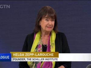 Helga Zepp-LaRouche på kinesisk Tv i diskussion om Bælt & Vej; 28 min.