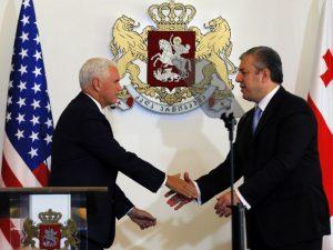 USA's vicepræsident Pence promoverer den politiske linje <br>om russisk trussel i Baltikum og Georgien
