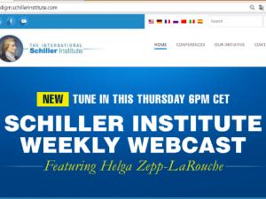 OBS! <br>Schiller Instituttet annoncerer ugentlig <br>international webcast med <br>Helga Zepp-LaRouche på engelsk, <br>for at udbrede den Nye Silkevejsånd