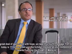 Yemen: <br>Fouad al-Ghaffari, Yemens Kontor <br>for Koordinering med BRIKS, <br>sender bevægende videohilsen til <br>Schiller Instituttets konference i Tyskland