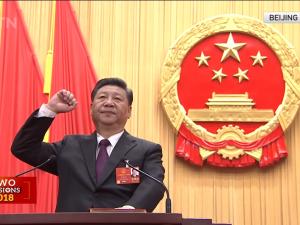 Xi Jinping genvalgt til præsident for Kina, <br>aflægger sit embedsløfte