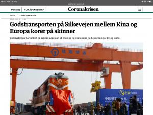 Godstransporten på Silkevejen mellem Kina og Europa kører på skinner: <br>uddrag fra Jyllands-Postens artikel