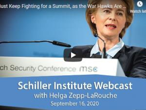 Bliv ved med at kæmpe for et topmøde.<br>Schiller Instituttets ugentlige webcast med <br> Helga Zepp-LaRouche den 16. september 2020